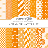 Orange Digital Paper patterns - bright color backgrounds