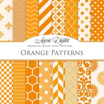 Orange Digital Paper patterns - bright color backgrounds