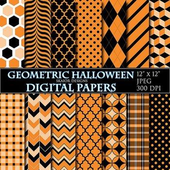 Halloween Digital Paper Orange Digital Papers Geometric Halloween Digital Papers