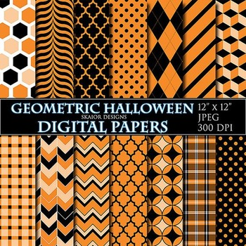 Halloween Digital Paper Orange Digital Papers Geometric Ha