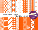 Orange  Digital Papers for Backgrounds, Scrapbooking and Classroom Decorations