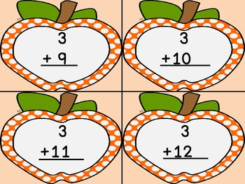 Orange Dot Apple Addition Flashcards 0-12