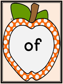 Orange Dot Apple Dolch First Grade Sight Word Flashcards and Posters