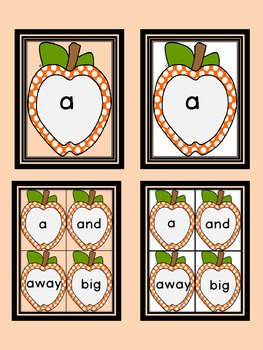 Orange Dot Apple  Dolch Pre-Primer Sight Word Flashcards and Posters