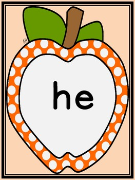 Orange Dot Apple  Dolch Primer Sight Word Flashcards and Posters