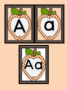 Orange  Dot Apple Full Page Alphabet Letter Posters