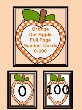 Orange Dot Apple Full Page Number Posters 0-100