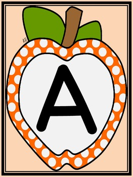 Orange Dot Apple Alphabet Letter Flashcards and Posters Bundle