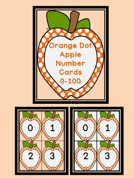Orange Dot Apple Number Flashcards 0-100