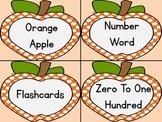Orange Dot Apple Number Word Flashcards Zero To One Hundred