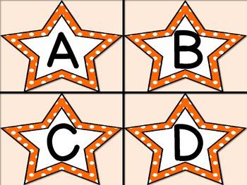 Orange Dot Star Alphabet Letter Flashcards
