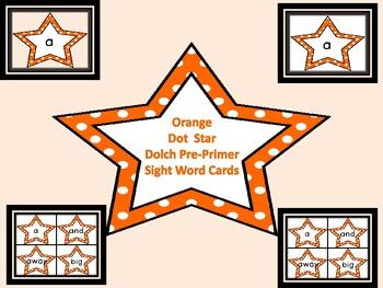 Orange Dot Star  Dolch Pre-Primer Sight Word Flashcards an
