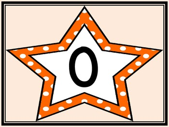 Orange Dot Star Full Page Number Posters 0-100