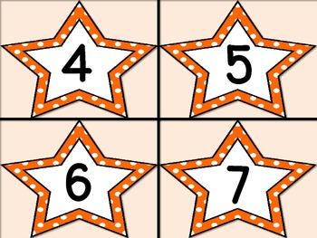 Orange Dot Star Number Flashcards 0-100