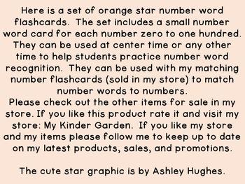 Orange Dot Star Number Word Flashcards Zero To One Hundred
