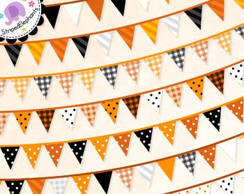 Orange Fall Halloween Bunting Clip Art