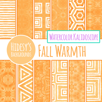 Orange Fall or Autumn Warmth Watercolor Digital Papers / Patterns / Backgrounds