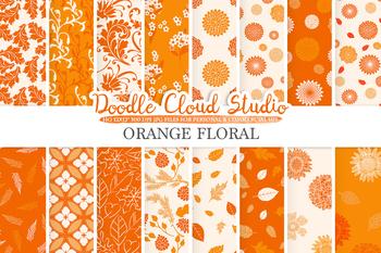 Orange Floral digital paper, Orange Floral patterns, Flowers, Dhalia, Leaves.