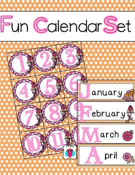 Orange Flower Themed Calendar Set