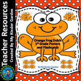 Orange Frog Dolch First Grade Sight Word Flashcards and Posters