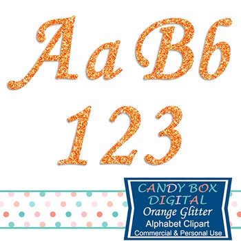 Orange Glitter Alphabet Clip Art