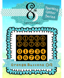 Orange Glitter Button Numbers 0 -9