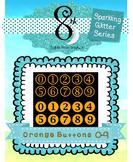 Orange Glitter Button Numbers 0 -9