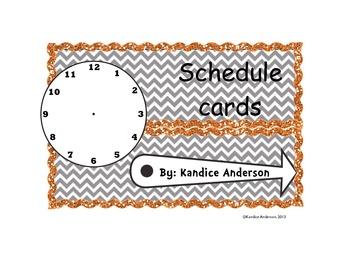 Orange Glitter Chevron Schedule Cards