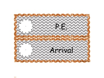 Orange Glitter Chevron Schedule Cards