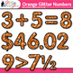 Orange Glitter Math Numbers Clip Art {Great for Classroom Decor & Resources}