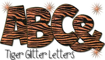 Tiger Print Alphabet - Orange Glitter