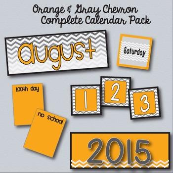Orange & Gray Chevron Calendar Pack