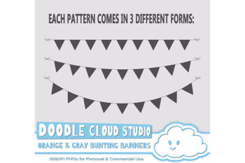 Orange & Gray Patterns Bunting Banners Cliparts Pack, pattered flags