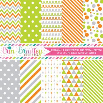 Orange Gray and Green Digital Paper Pack