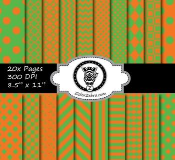 Orange Green Multi pattern paper pack - commercial use ok.