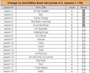 Orange, Green, and Blue LLI Book Lists