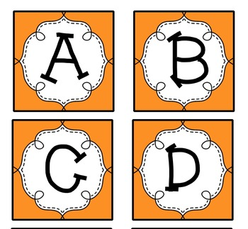 Orange Guided Reading Labels / Word Wall Letters aa-Z