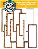 Orange Half Page Doodle Borders