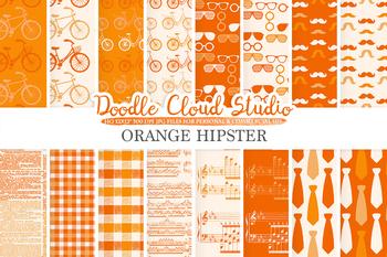 Orange Hipster digital paper, Vintage Retro patterns, Father's day