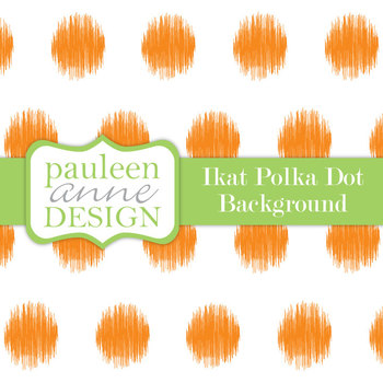 Orange Ikat Polka Dot Background