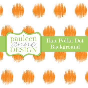 Orange Ikat Polka Dot Background