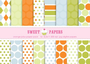 Orange Julius Digital Paper Pack - by Sweet Papers