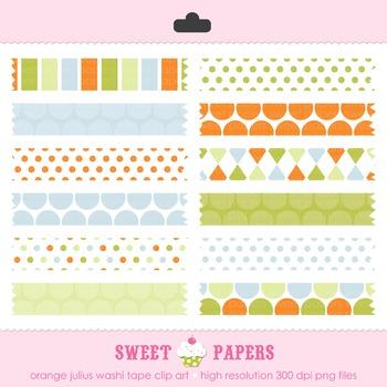 Orange Julius Washi Tape Digital Clip Art Set - by Sweet Papers