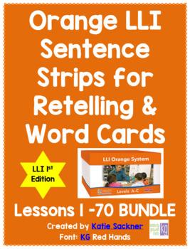 Orange LLI Sentence Strips for Retelling & Word Cards BUNDLE 1st Edition