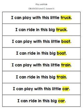 Orange LLI Sentence Strips for Retelling & Word Cards Lessons 51-60