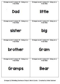 Orange LLI Sentence Strips for Retelling & Word Cards Lessons 61-70