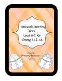 Orange LLI Weekly Homework Kit for Level A-C. CCSS writing