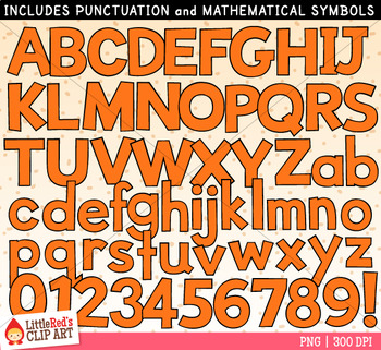 Orange Letters and Numbers Clip Art