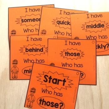 New Zealand Sight Words - Orange Level Sight Word Game - I have Who Has