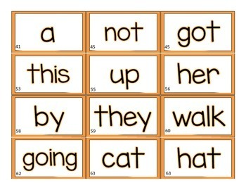 ORANGE Leveled Literacy Intervention(LLI) Word Wall Cards